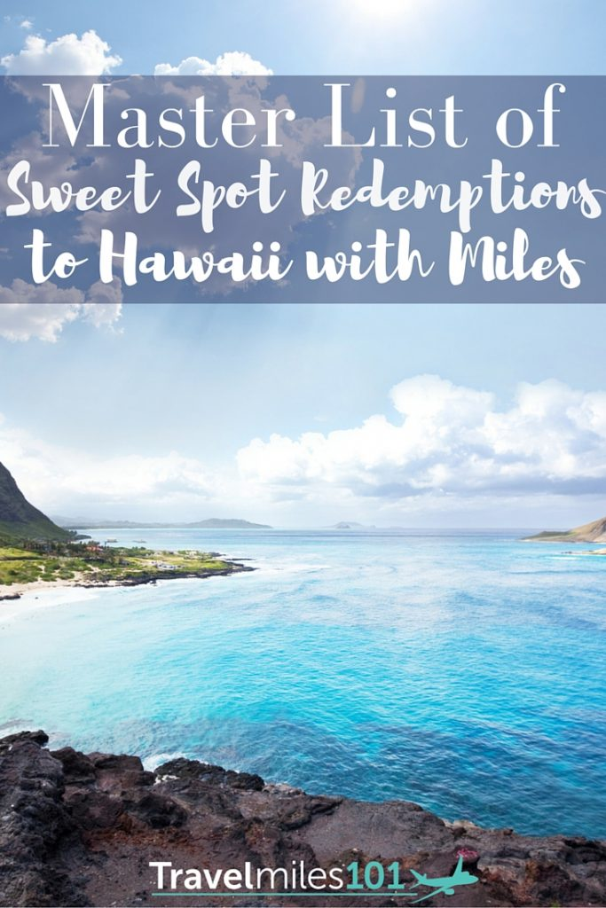 Master list of the 'sweet spot' redemptions to Hawaii using airlines miles & points to get there for fewer miles than normal on United, American, Alaska.