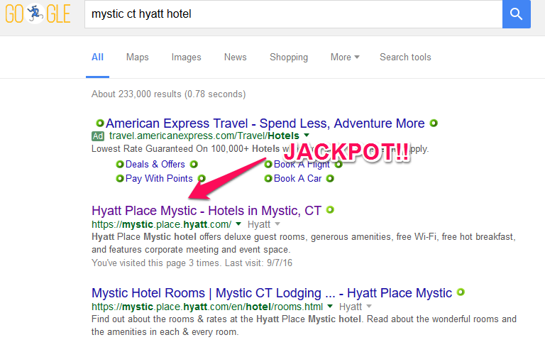 Mystic CT hyatt google search UPDATED