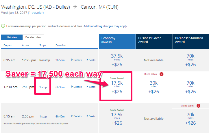 united-availability-dc-to-cun-updated
