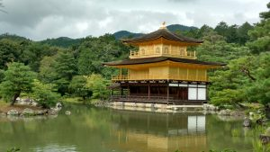 Kinkaku-ji, a temple in Kyoto completely covered in gold leaf.