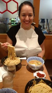 Jessica enjoying a bowl of Tsukemen ramen.