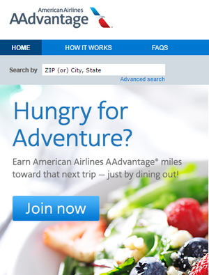 American Airlines AAdvantage Dining 300w