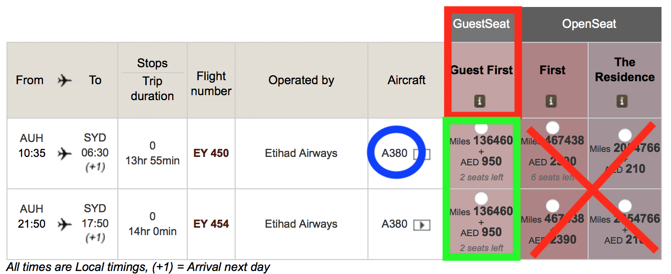 Etihad Airways Award Flights