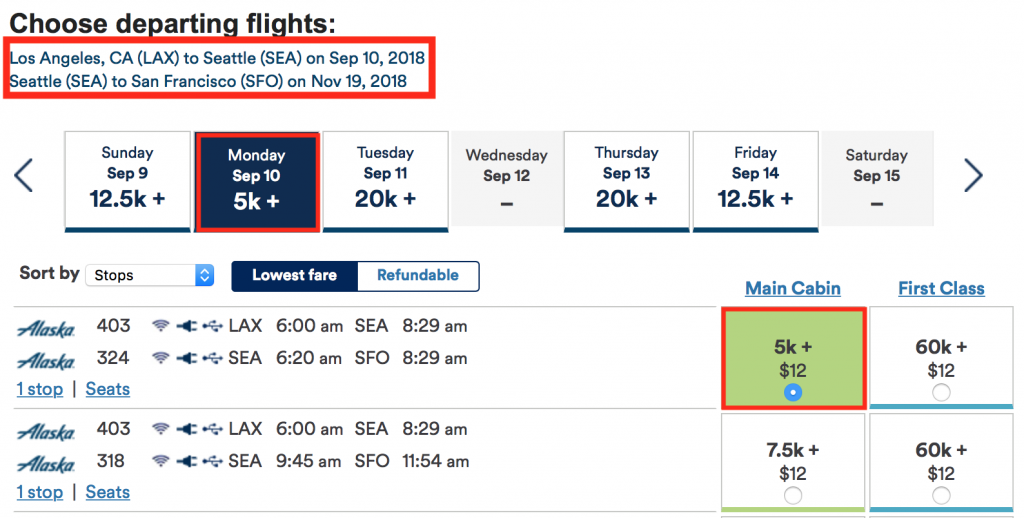 Alaska Airlines Flight Search Results